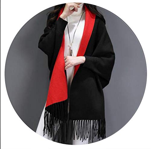 - 2018 Double Side Scarf Winter Faux Cashmere Poncho Solid Long Sleeves Wrap,Black With Red
