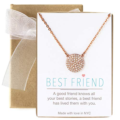 A+O Friendship Necklace - 11MM Pave Disc Necklace in Rose Gold - Pave Rose Gold Necklace