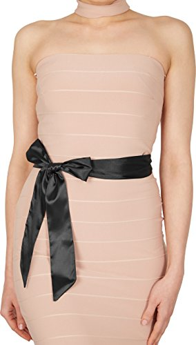 BlackButterfly Bridal Wedding Bridesmaid Satin Sash Belt (Black, 5 CM X 175 CM)