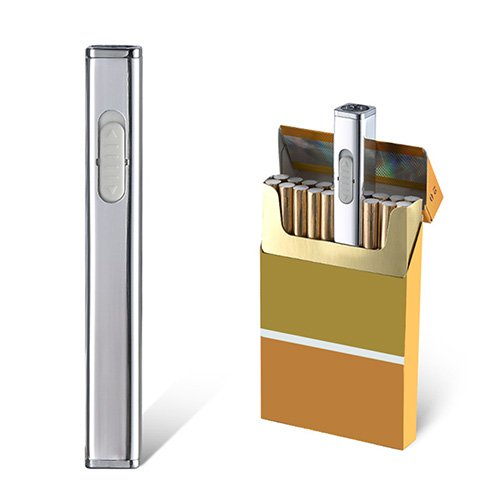 Usb Mini Lighters Rechargeable Eletric Cigarette Lighter Flameless Windproof Lightweight Coil Slim Lighter (Silver)