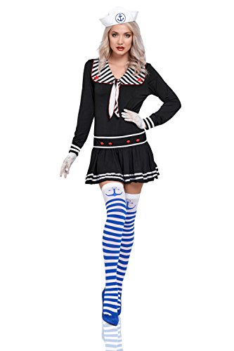 Cabaret Costumes Ideas (Women Flirty Sailor Costume Shipmate Sweetie Sexy Uniform Dress Adult Role Play (Black))