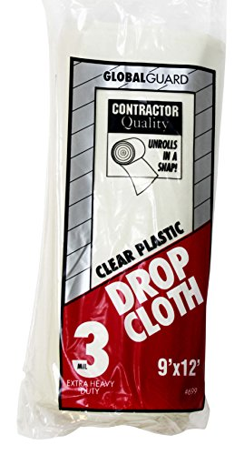 (Premier 9' x 12' 3 MIL Clear Plastic Drop Cloth Rolled, 699)
