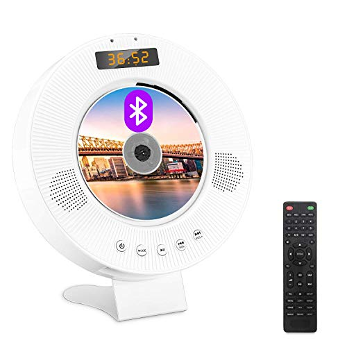 Jinhoo Portable Bluetooth DVD CD Player Wall Mountable DVD CD Player with Built-in HiFi Speakers, PAL NTSC System, Anti-Skip Protection LED Display USB Slot and HDMI Output for TV Projector