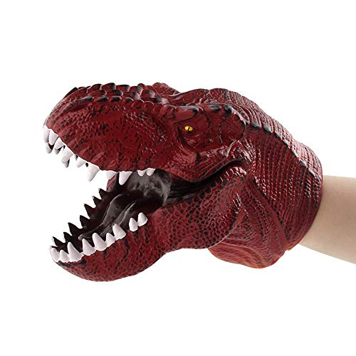 Educational Dolls Clearance, Dinosaur Hand Puppets Role Play Realistic Tyrannosaurus Rex Head Gloves Soft Toy (F)]()