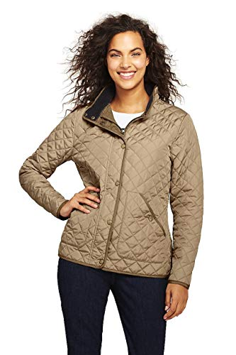 (Lands' End Women's Quilted Barn Insulated Jacket, M, Admiral Khaki )