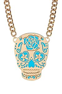 "Betsey Johnson ""Photo Etch"" Sugar Skull Oversized Pendant Frontal Necklace"