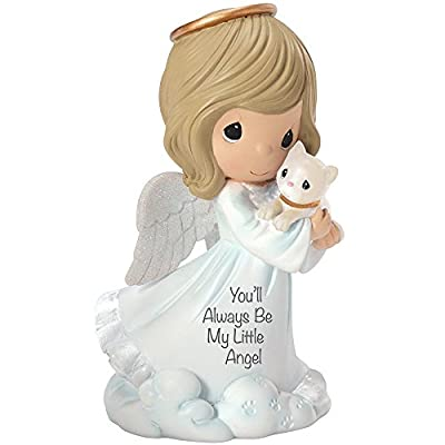 "Precious Moments, Religious Gifts, ""You'll Always Be My Little Angel"" Girl And Cat Figurine, #153409"