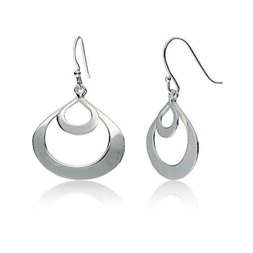 le Flat Teardrop Dangle Polished Earrings, One Pair Set ()