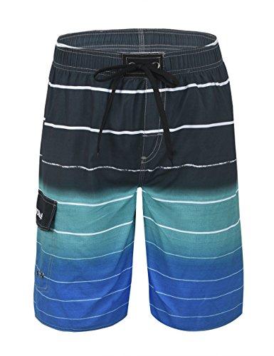 Nonwe Men's Beachwear Quick Dry Holiday Drawstring Striped Beach Shorts Blue 2 34