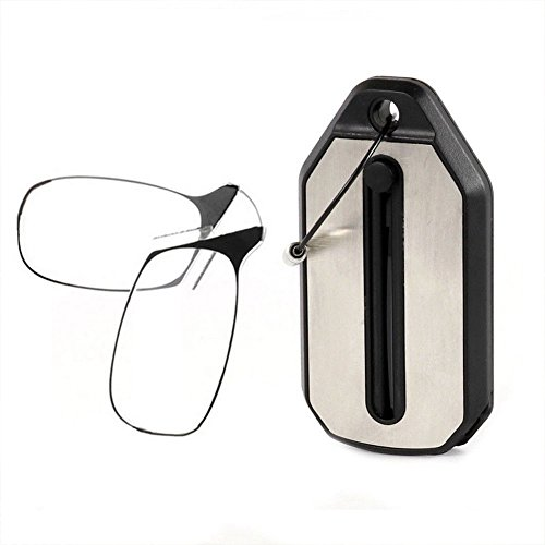 Mini Foldable Reading Glasses, Portable Compact Clip Nose Presbyopic Glasses Built-in Keychain (200+,Black)