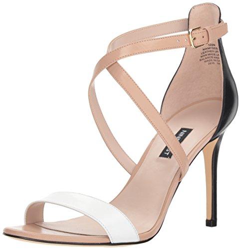 Nine West Women Mydebut Leather Heeled Sandal Black/Multi