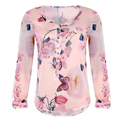 Estampado De Gasa Con Dobladillo Casual sonnena Tops Temporada Mujer Camiseta Para Irregular Cálida Floral Streetwear Naranja Superior Blusa Manga Larga fFqw4xwZP