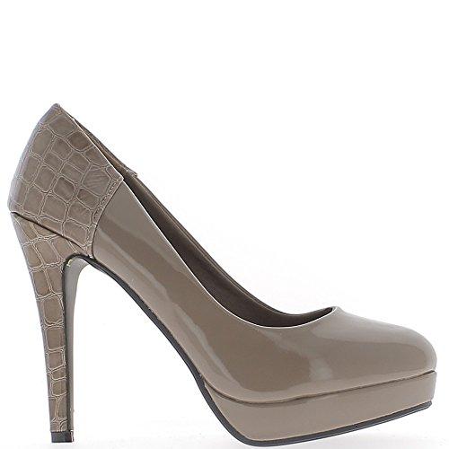 Plataforma y tacón de zapatos mujer bi material barniz taupe 11,5 cm