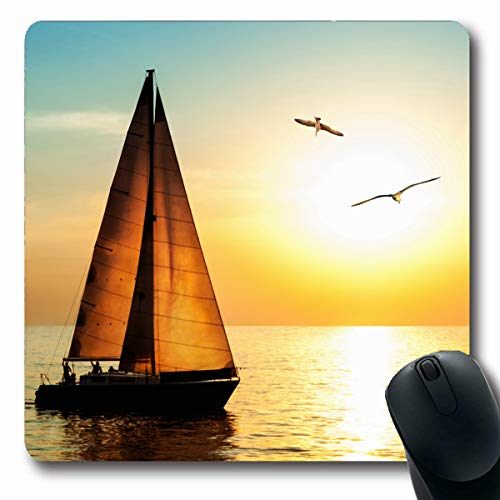 (Tobesonne Mousepads Adventure Yacht Sailing Against Sunset Holiday Lifestyle Seaside Skyline Sailboat Two Seagull Oblong Shape 7.9 x 9.5 Inches Non-Slip Gaming Mouse Pad Rubber Oblong Mat)