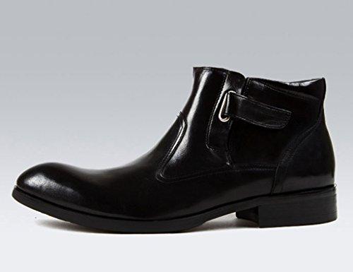 HWF Scarpe Uomo in Pelle Scarpe da uomo in pelle Stivali Martin Scarpe con tacco alto Stivali a punta stile britannico a punta (Colore : Nero, dimensioni : EU37/UK4-4.5) Nero