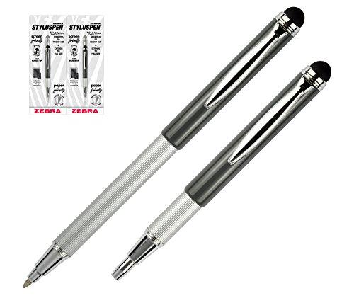 Pk/2 Zebra Telescopic StylusPen - Ballpoint Pen w/Stylus (2), Slate Grey