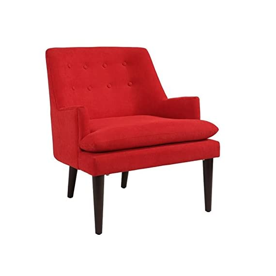 Abbyson Living Murphy Mid Century Accent Chair in Red - Finish: Red Materials: Hardwood Upholstery Materials: 100% Polyester - living-room-furniture, living-room, accent-chairs - 41DppiM36IL. SS570  -