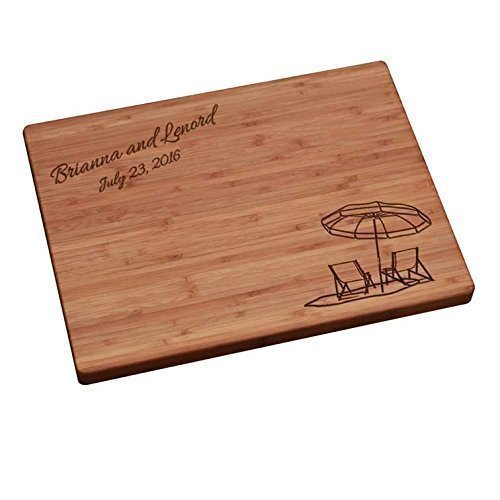 Personalized Cutting Board - Beach Chairs with Umbrella