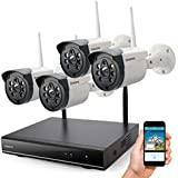Wireless Security Camera System Outdoor, ONWOTE 1080P HD NVR with 4 960P HD 1.3MP Night Vision IP Security Surveillance Cameras for Home, NO Hard Drive (Built-in Router, Auto Pair, Mobile View)