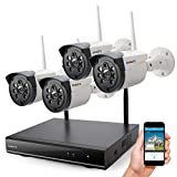 Wireless Security Camera System Outdoor, ONWOTE 1080P HD NVR 4 960P HD 1.3MP Night Vision IP Security Surveillance Cameras Home, NO Hard Drive (Built-in Router, Auto Pair, Mobile View)