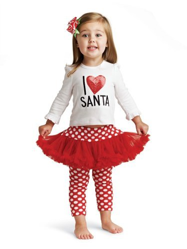 Mud Pie Baby and Toddler Girls I Love Santa Tunic and Skirt with Leggings Outfit (0-6 Months)