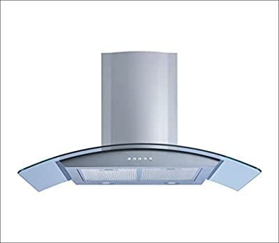 """Winflo 36"""" Wall Mount Stainless Steel/Tempered Glass Convertible Range Hood with 450 CFM Air Flow Illuminated Push Button Control, Aluminum Filters and LED Lights"""
