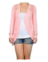 Womens Lace Crochet Cardigan Back Semi Sheer Tops Coat Outwear Sweater 10 Colors
