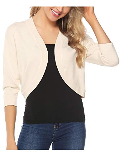 - iClosam Women Open Front Cardigan 3/4 Sleeve Long Sleeve Cropped Bolero Shrug (Beige, XX-Large)