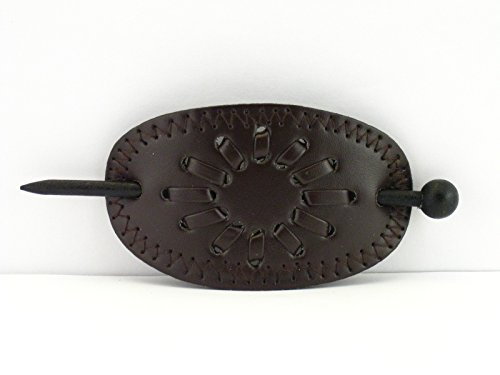 Leather With Wood Slide Stick Oval Hair Pin Barrette