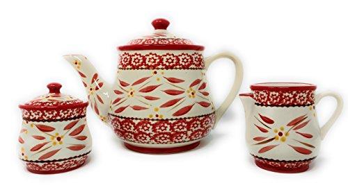 Temp-tations Old World 3-pc. Tea Pot Set w/ Teapot, Sugar, & Creamer (Old World Red)