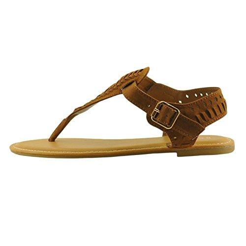 Bambù Spiaggia 31s Donna Intrecciato T-strap Sandali Con Fibbia In Castagno