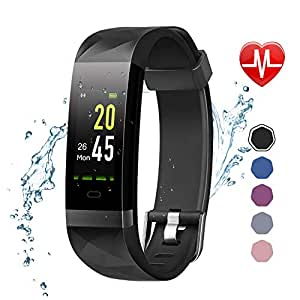 LETSCOM Fitness Tracker Color Screen HR, Activity Tracker with Heart Rate Monitor, Sleep Monitor, Step Counter, Calorie Counter, IP68 Waterproof Smart Pedometer Watch for Men Women Kids, Black