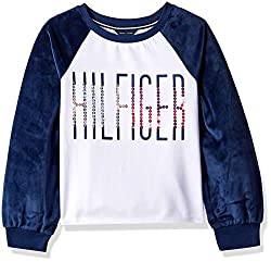 Girls' Pullover Fashion White & Blue Sweater T-Shirt