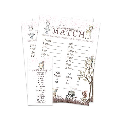Woodland Friends Name the Baby Animal Shower Game - 25 Pack (Baby Shower Bingo Owl)