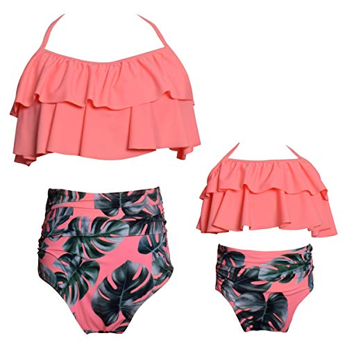 Womens Two Piece Swimsuits Family Matching Swimwear Floral Bathing Suit Orange XX-Large -