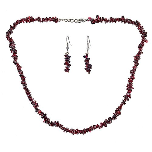 Chips Gemstone Bead Silver Necklace (Genuine 6mm Uncut Chip Bead Real Garnet GemStone Necklace & Earrings Set In 925 Sterling Silver)