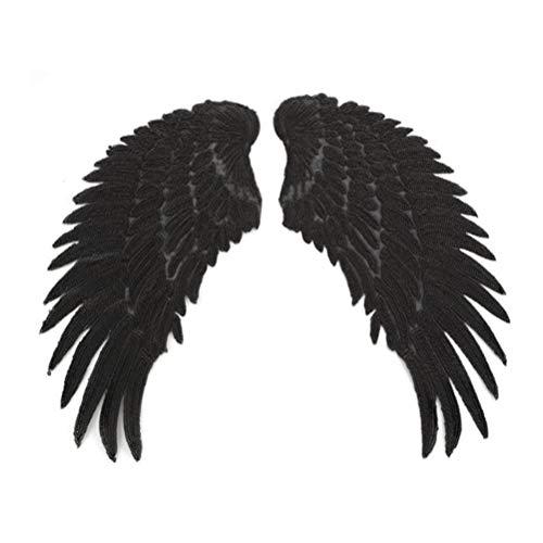 SUPVOX Parche Bordado de Lentejuelas en Forma de ala de Hierro para Coser Apliques para Ropa DIY Artesanía 1 Par Negro