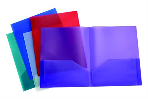 School Smart 2 Pocket Portfolio Without Fasteners - Pack of 25 - Assorted Colors