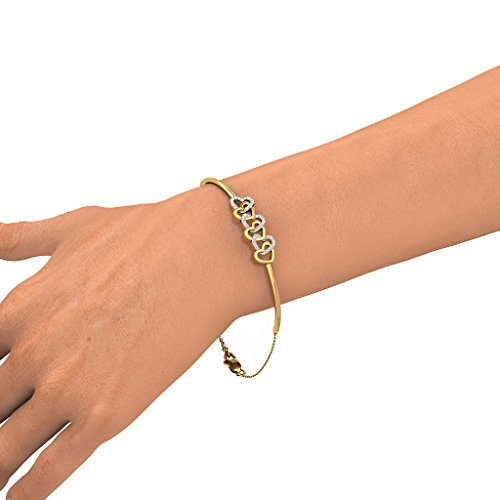 Or jaune 18K, 0,2CT TW Round-cut-diamond (Ij| SI) Identification-bracelets