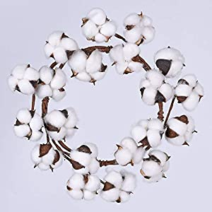 "Lvydec Cotton Wreath Decor, 16""-20"" Adjustable Cotton Stems Wreath with Full White Fluffy Cotton Bolls for Farmhouse Decor Front Door Wall Wedding Centerpiece 117"