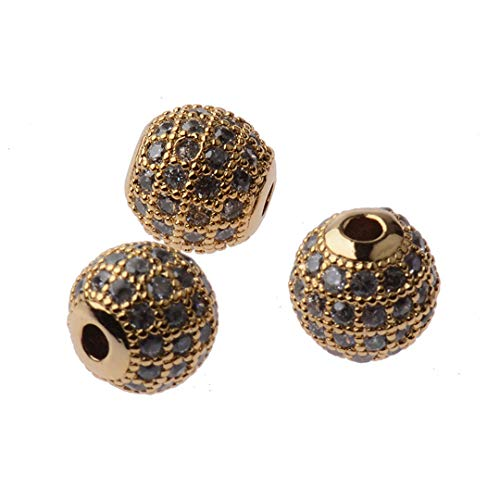Round Copper DIY Spacer Beads 6Mm 8Mm 10Mm 12Mm Crystal Ball Beads Jewelry Making BD242-1 10mm -