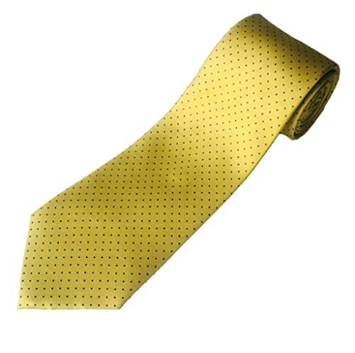 Dot Long Tie - 100% Silk Extra Long Yellow and Navy Dot Tie (70 Inches Long, 3.75 Inches Wide)