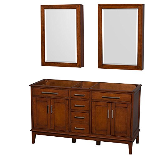 Wyndham Collection WCV161660DCLCXSXXMED 60 in. Double Bathroom Vanity in Light Chestnut, No Countertop, No Sinks, and Medicine Cabinets