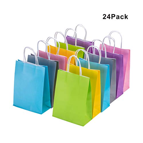 Colored Kraft Bags Bulk with Handles 24 Pcs Paper Bags 6.3