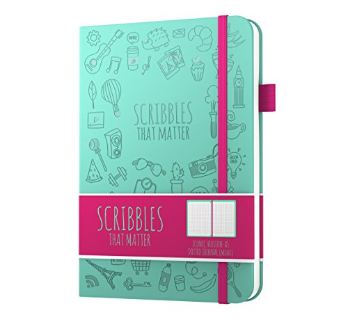 - Dotted Journal by Scribbles That Matter - Create Your Own Unique Life Organizer - No Bleed A5 Hardcover Dotted Notebook - Inner Pocket - Fountain Pens Friendly Paper - Iconic Version (Mint)
