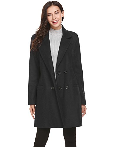 Hotouch Winter Wool Blended Pea Coats Women Casual Lapel Double Breasted Pea Jacket Pocket Peacoat Black S