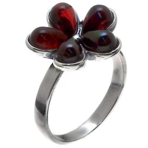 Cherry Amber and Sterling Silver Flower Ring Sizes 5,6,7,8,9,10,11,12 Amber Crystal Ring