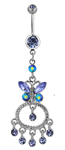 Crystal Ring Belly Butterfly - Corykeyes Butterfly Belly Button Rings Crystal Body Piercing Rings (Purple)