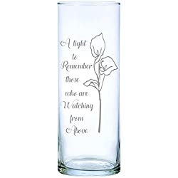 "IE Laserware Lily permanently laser engraved, etched on this beautiful Floating Memorial Candle, comes complete with 3"" white candle"
