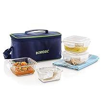 Borosil Klip-N-Store Glass Aroma Lunch Box Set, 4-Pieces, Blue